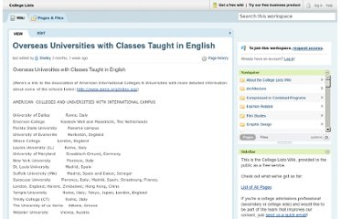 http://collegelists.pbworks.com/w/page/16119533/Overseas%20Universities%20with%20Classes%20Taught%20in%20English