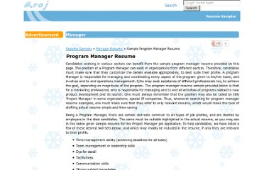 http://www.aroj.com/sample-Manager/Program-Manager-Resume.html