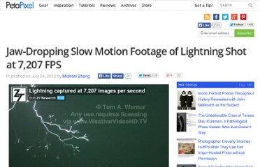 http://www.petapixel.com/2012/07/24/jaw-dropping-slow-motion-footage-of-lightning-shot-at-7207-fps/