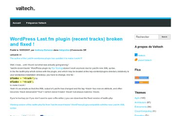 http://blog.valtech.fr/2007/05/16/wordpress-lastfm-plugin-recent-tracks-broken-and-fixed/