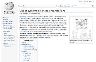 http://en.wikipedia.org/wiki/List_of_systems_sciences_organizations
