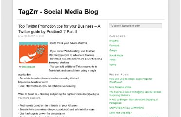 http://www.tagzrr.com/2011/02/top-twitter-promotion-tips-for-your-business-a-twitter-guide-by-position2-part-ii/