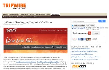 http://www.tripwiremagazine.com/2010/05/13-valuable-non-blogging-plugins-for-wordpress.html