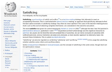 http://en.wikipedia.org/wiki/Satisficing