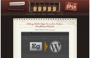 http://www.oddodesign.com/2011/adding-adobe-edge-animation-to-your-wordpress-website/