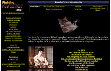 http://www.fightingmaster.com/masters/brucelee/quotes.htm#On%20JKD