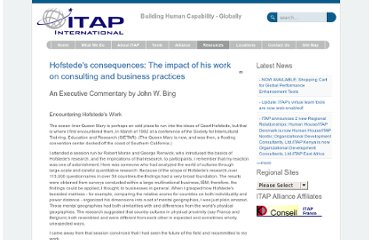 http://www.itapintl.com/facultyandresources/articlelibrarymain/hofstedes-consequences-the-impact-of-his-work-on-consulting-and-business-practices.html