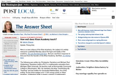 http://www.washingtonpost.com/blogs/answer-sheet/post/how-well-does-khan-academy-teach/2012/07/27/gJQA9bWEAX_blog.html