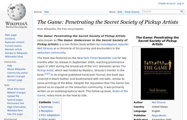 http://en.wikipedia.org/wiki/The_Game:_Penetrating_the_Secret_Society_of_Pickup_Artists