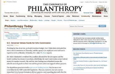 http://philanthropy.com/blogs/philanthropytoday/s-c-governor-vetoes-funds-for-arts-commission/50031