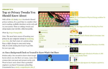 http://lifehacker.com/5544200/top-10-privacy-tweaks-you-should-know-about