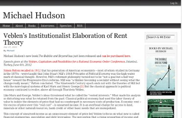 http://michael-hudson.com/2012/07/veblens-institutionalist-elaboration-of-rent-theory/