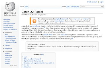 http://en.wikipedia.org/wiki/Catch-22_(logic)