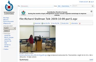 http://commons.wikimedia.org/wiki/File:Richard_Stallman_Talk_2009-10-09_part1.ogv