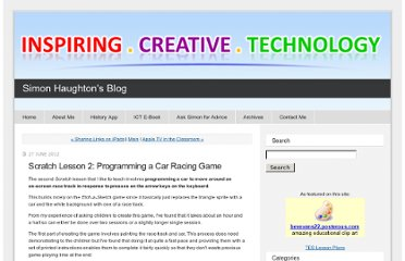 http://www.simonhaughton.co.uk/2012/06/scratch-lesson-2-programming-a-car-racing-game.html