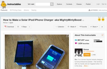 http://www.instructables.com/id/How-to-make-a-solar-iPodiPhone-charger-aka-Might/