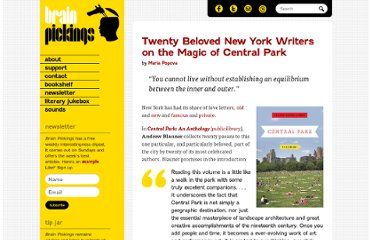 http://www.brainpickings.org/index.php/2012/07/31/central-park-anthology-andrew-blauner/