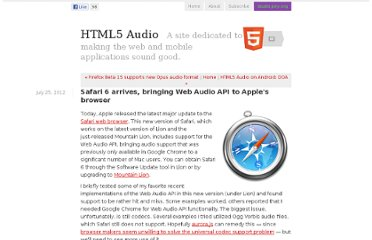 http://www.html5audio.org/2012/07/safari-6-arrives-bringing-web-audio-api-to-apples-browser.html