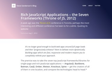http://blog.stevensanderson.com/2012/08/01/rich-javascript-applications-the-seven-frameworks-throne-of-js-2012/