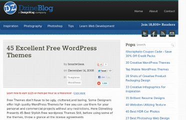 http://dzineblog.com/2008/12/45-excellent-free-wordpress-templates.html