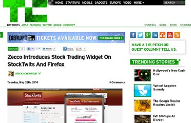 http://techcrunch.com/2010/05/25/zecco-introduces-stock-trading-widget-on-stocktwits-and-firefox/