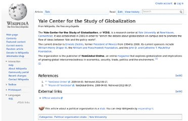 http://en.wikipedia.org/wiki/Yale_Center_for_the_Study_of_Globalization