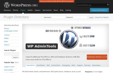 http://wordpress.org/extend/plugins/wp-admintools/