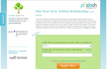 http://www.zinch.com/one-year-free-tuition-scholarship