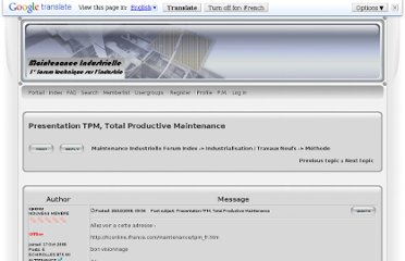 http://maintenanceindustrielle.xooit.fr/t64-Presentation-TPM-Total-Productive-Maintenance.htm