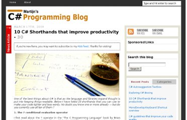 http://www.dijksterhuis.org/10-c-coding-shorthands-that-improve-productivity/