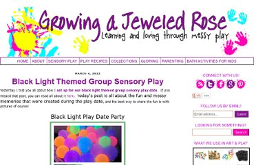http://www.growingajeweledrose.com/2012/03/blacklight-themed-group-sensory-play.html