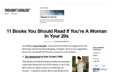 http://thoughtcatalog.com/2012/11-novels-i-think-you-should-read-if-youre-a-lady-in-your-20s/