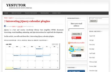 http://yestutor.blogspot.com/2010/05/7-interesting-jquery-calendar-plugins.html