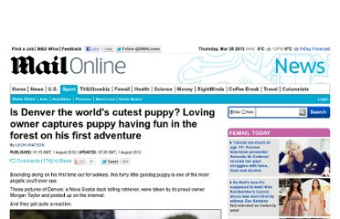 http://www.dailymail.co.uk/news/article-2181891/Is-Denver-worlds-cutest-puppy-Loving-owner-captures-puppy-having-fun-forest-adventure.html