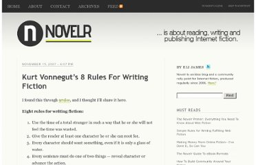 http://www.novelr.com/2007/11/15/kurt-vonneguts-8-rules-for-writing-fiction