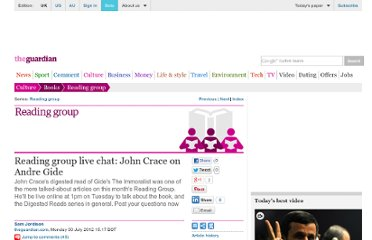http://www.guardian.co.uk/books/2012/jul/30/reading-group-live-chat-john-crace-the-immoralist