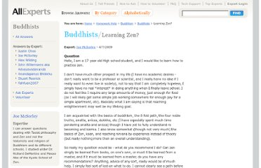 http://en.allexperts.com/q/Buddhists-948/2009/4/Learning-Zen.htm
