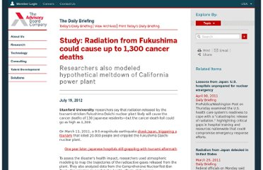 http://www.advisory.com/Daily-Briefing/2012/07/19/Radiation-from-Fukushima-could-cause-up-to-1300-cancer-deaths