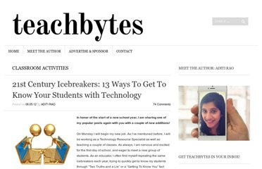 http://teachbytes.com/2012/08/05/21st-century-icebreakers-10-ways-to-get-to-know-your-students-with-technology/