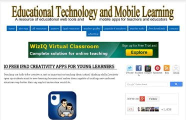 http://www.educatorstechnology.com/2012/08/10-free-ipad-creativity-apps-for-young.html#.UB8iBkFiM5E.facebook