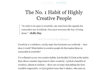 http://zenhabits.net/creative-habit/