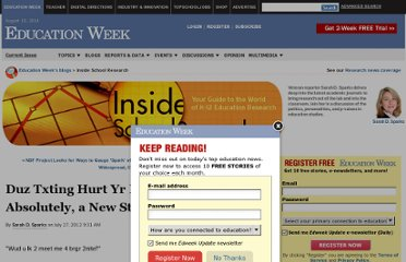 http://blogs.edweek.org/edweek/inside-school-research/2012/07/duz_txting_hurt_yr_kidz_gramr_.html?cmp=ENL-CM-NEWS2