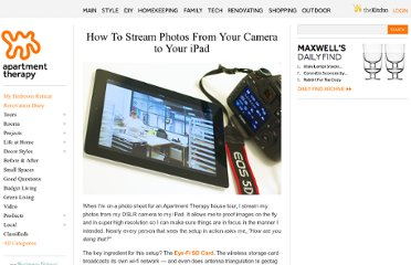 http://www.apartmenttherapy.com/how-to-stream-photos-from-your-camera-to-your-ipad-174950