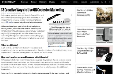 http://www.fastcompany.com/1720193/13-creative-ways-use-qr-codes-marketing