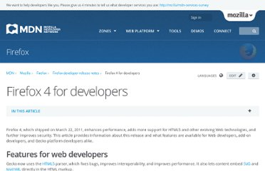 https://developer.mozilla.org/en-US/docs/Firefox_4_for_developers