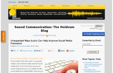 http://soundcommunication.holdcom.com/bid/82271/Unexpected-Ways-Audio-Can-Help-Improve-Social-Media-Promotion
