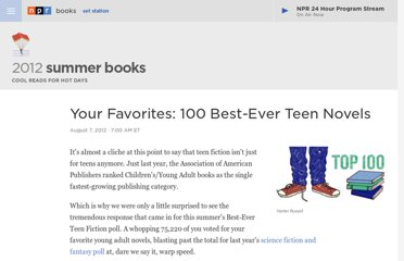 http://www.npr.org/2012/08/07/157795366/your-favorites-100-best-ever-teen-novels
