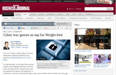 http://www.bizjournals.com/dayton/news/2012/08/07/cyber-war-games-on-tap-for-wright-patt.html