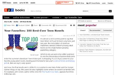 http://www.npr.org/2012/08/07/157795366/your-favorites-100-best-ever-teen-novels#