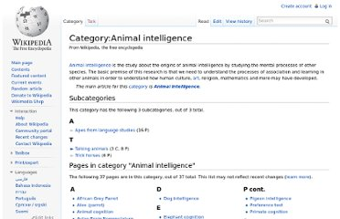 http://en.wikipedia.org/wiki/Category:Animal_intelligence
